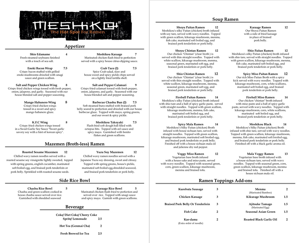 View the Meshikou Ramen Restaurant & Drink Menu